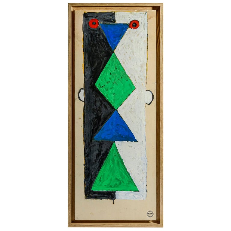 "Albert Chubac, ""TOTEM"" Painting, France, circa 1960 For Sale"
