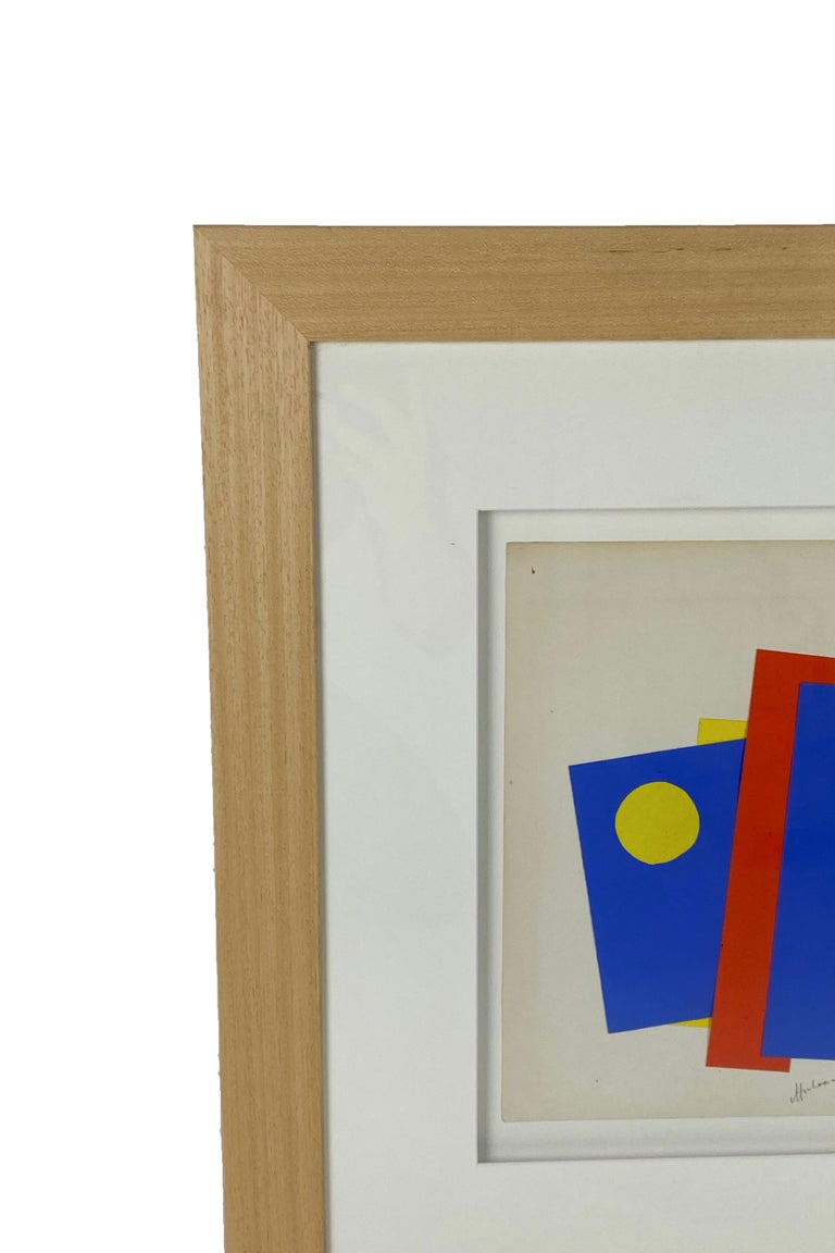 Albert Chubac Collage Signed. Framed. Midcentury abstract modern, circa 1950, France. Very good vintage condition. Albert Chubac was born in 1925 in Geneva, Switzerland. After graduating from l'Ecole des Beaux Arts in 1947, he lived in and