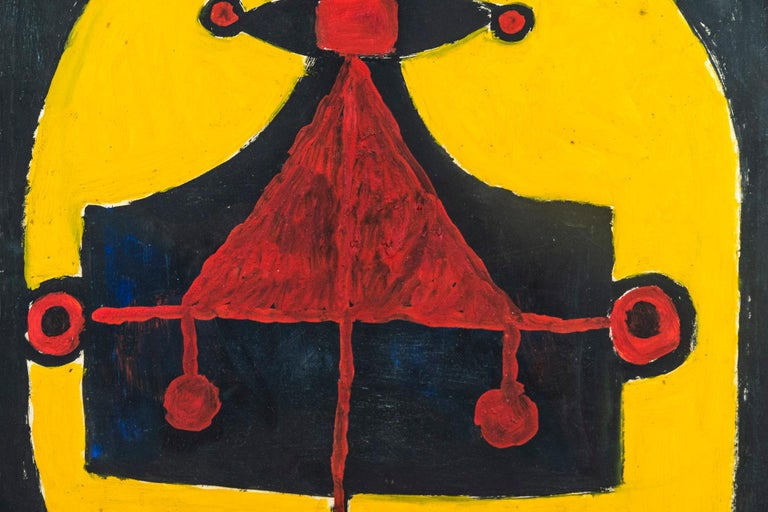 Albert Chubac, Painting, mixed-media on paper, Stamped, circa 1960, France.  Measures: Height 67 cm, width 50 cm, depth 3 cm.