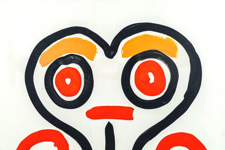 Albert Chubac, Face composition, Painting, mixed-media on paper, Stamped, circa 1960, France.  Measures: Height 70 cm, width 50 cm, depth 3 cm.