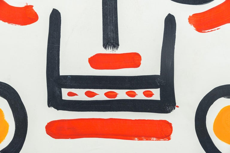 Mid-Century Modern Albert Chubac, Face composition, Painting, France, circa 1960 For Sale