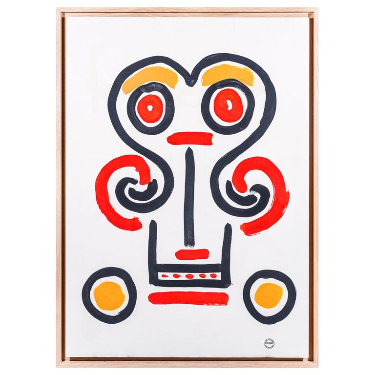 Albert Chubac, Face composition, Painting, France, circa 1960 For Sale