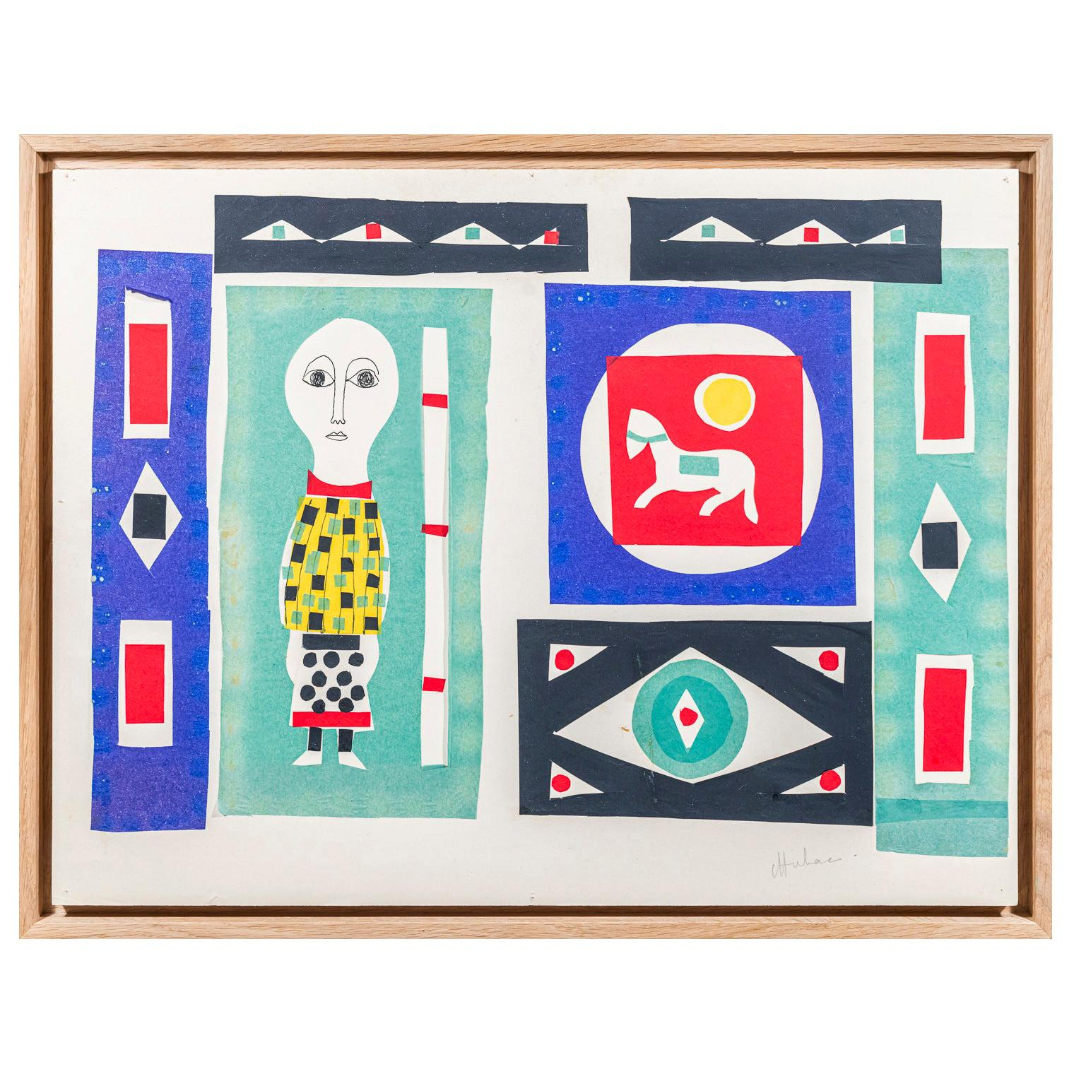 Albert Chubac, Composition, Painting, Mixed-Media on Paper, circa 1960, France