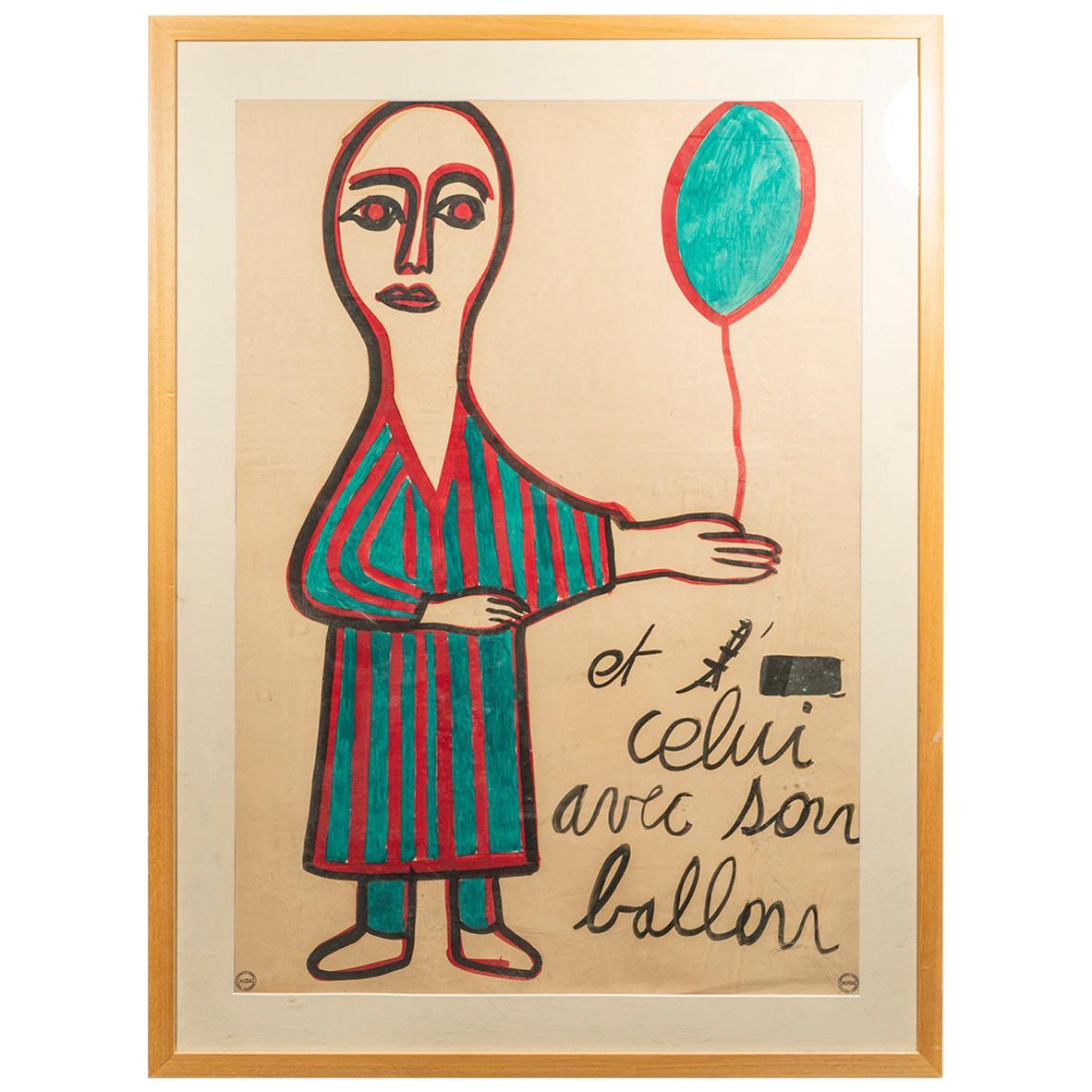 Albert Chubac, Painting, Mixed-Media on Paper, France, circa 1965