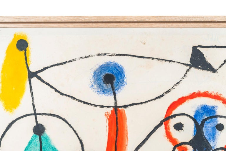 Albert Chubac, Character composition,  Painting, mixed-media on paper, Signed, circa 1960, France.  Measures: Height 65 cm, width 50 cm, depth 3 cm.