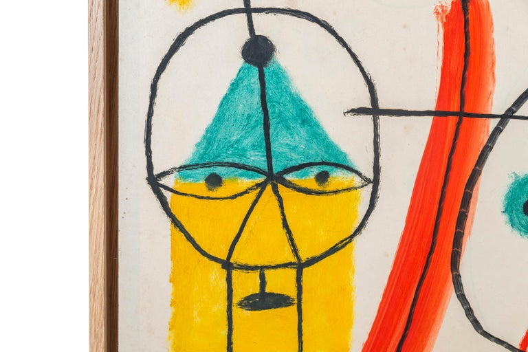 Mid-Century Modern Albert Chubac, Character composition, Painting, Signed, France, circa 1960 For Sale