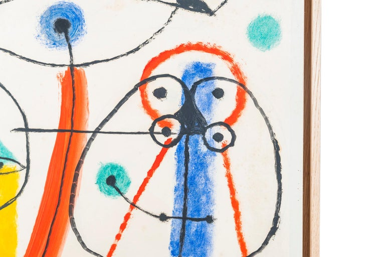 French Albert Chubac, Character composition, Painting, Signed, France, circa 1960 For Sale
