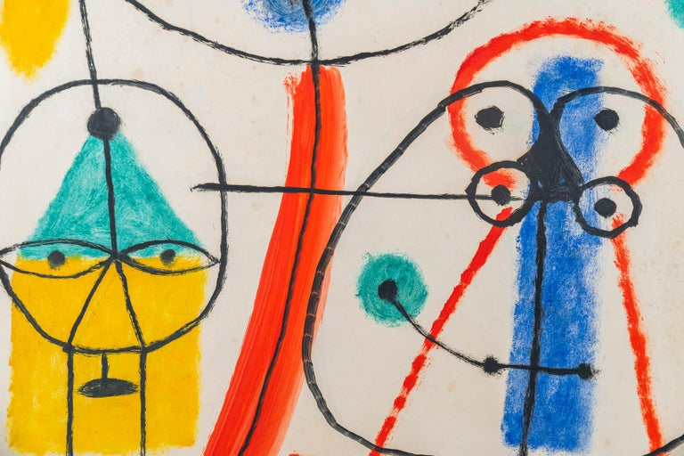 Albert Chubac, Character composition, Painting, Signed, France, circa 1960 For Sale 1