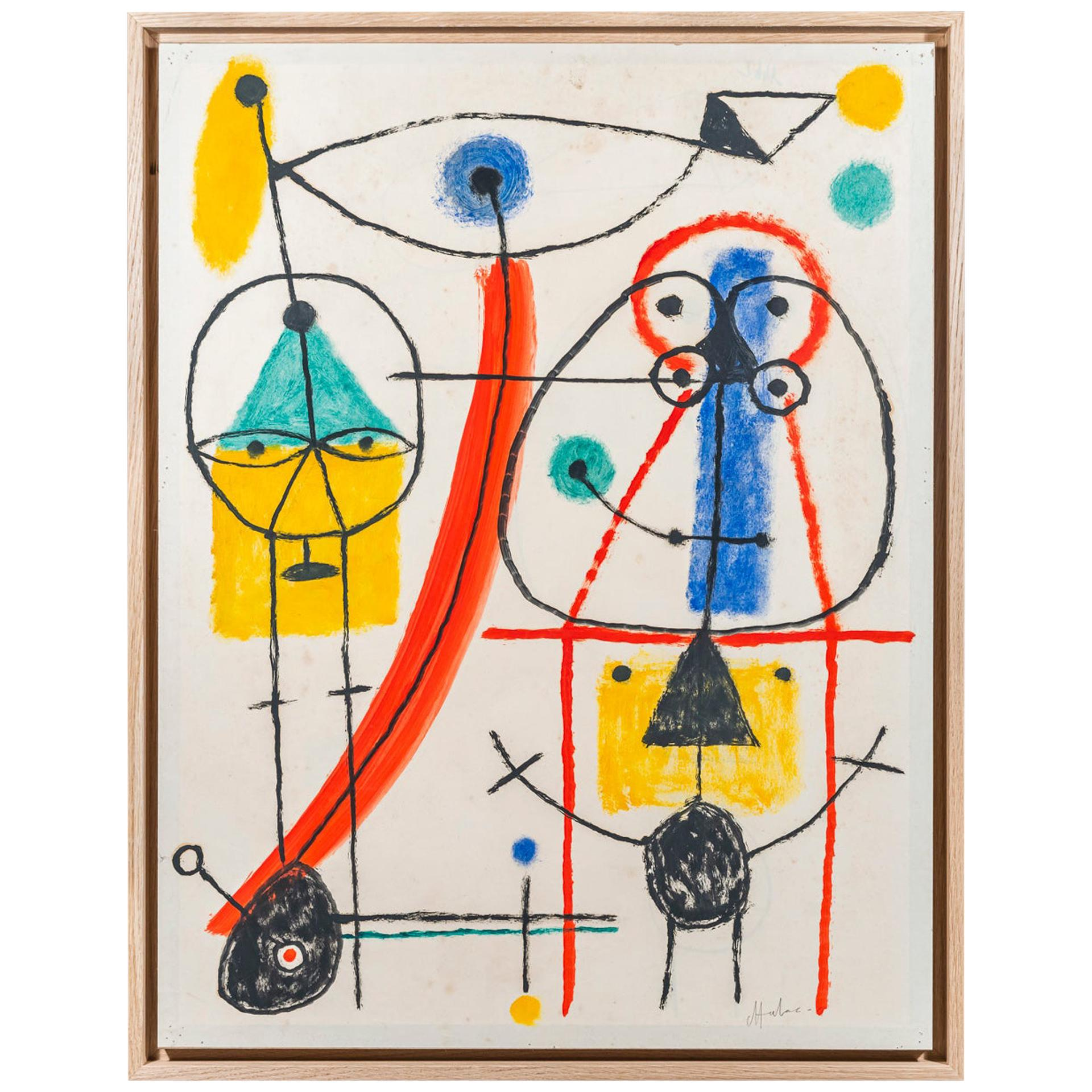 Albert Chubac, Character composition, Painting, Signed, France, circa 1960