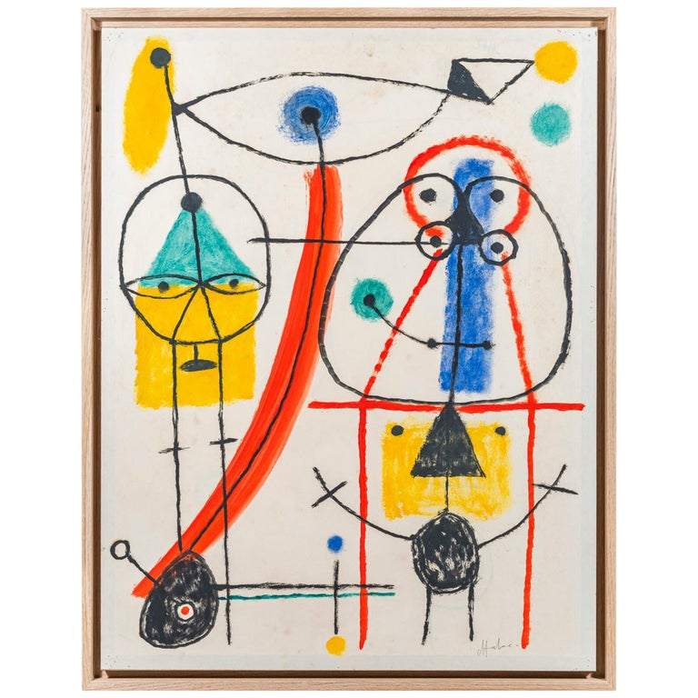 Albert Chubac, Character composition, Painting, Signed, France, circa 1960 For Sale