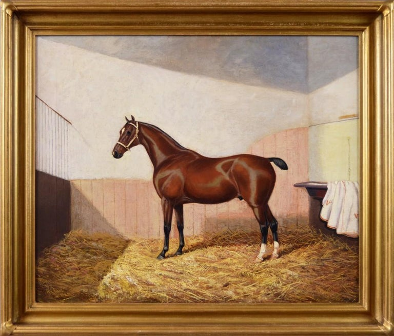 Oil painting of a horse in a stable, ca. 1900, by Albert Clark, offered by Benton Fine Art