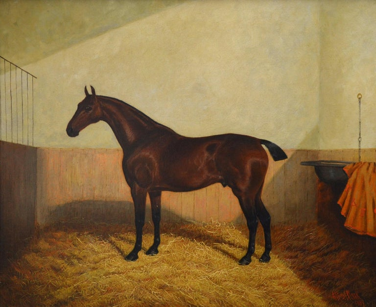 A large fine 19th century oil on canvas depicting a 'Bay Hunter in a Stable' by the eminent Victorian equine artist Albert Clark (1843-1928). The painting is signed by the artist and dated 1889. It is presented in a fine 20th century gold leaf