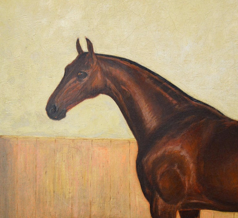 Bay Hunter in a Stable - 19th Century Equine Portrait Oil Painting  For Sale 1
