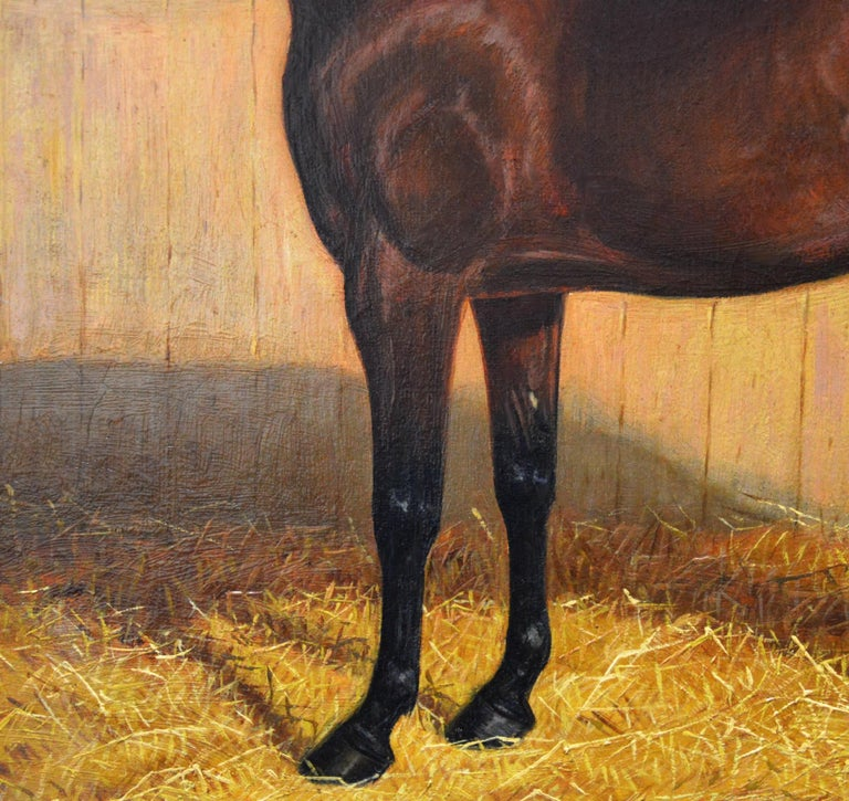 Bay Hunter in a Stable - 19th Century Equine Portrait Oil Painting  For Sale 2
