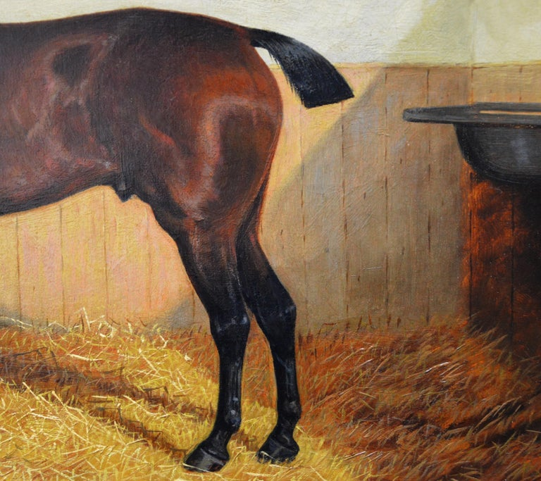 Bay Hunter in a Stable - 19th Century Equine Portrait Oil Painting  For Sale 3