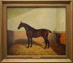 Bay Hunter in a Stable - 19th Century Equine Portrait Oil Painting