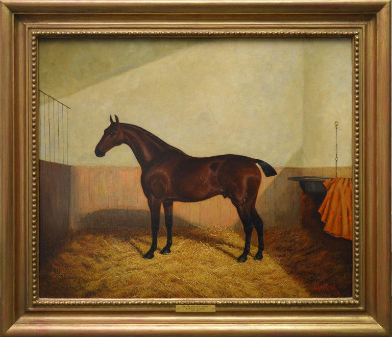Albert Clark Portrait Painting - Bay Hunter in a Stable - 19th Century Equine Portrait Oil Painting