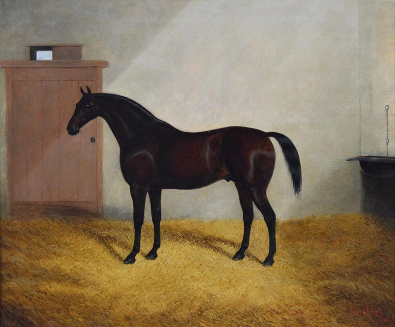 Sporting portrait oil painting of a horse in a stable - Painting by Albert Clark