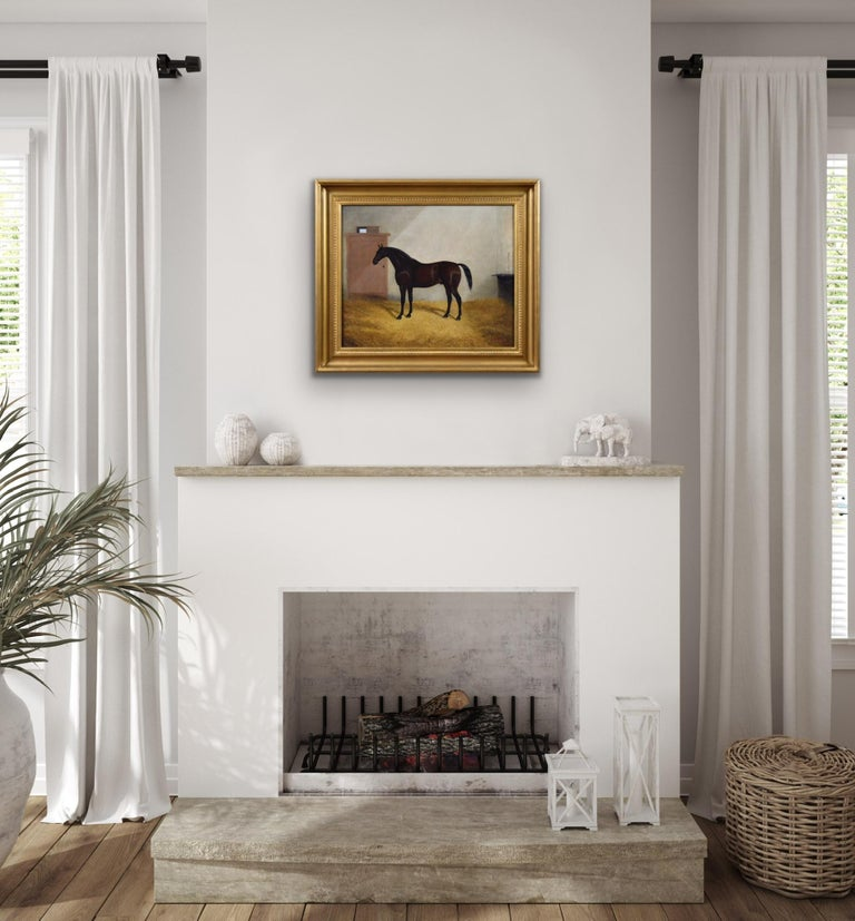 Sporting portrait oil painting of a horse in a stable For Sale 2