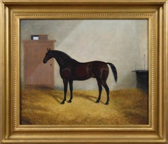 Sporting portrait oil painting of a horse in a stable