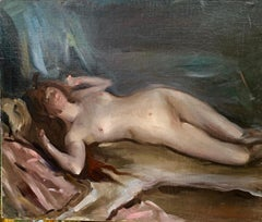 Impressionist Reclining Nude laying on a bed