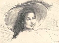 Portrait de Mademoiselle - Original Lithograph by Albert de Belleroche - 1904
