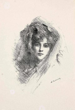 Veiled Woman - Original Lithograph by Albert de Belleroche - 1890