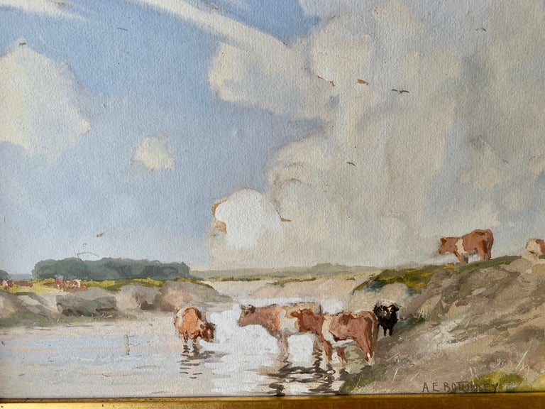 English Impressionist early 20th century, cows drinking water in a landscape - Painting by Albert Ernest Bottomley