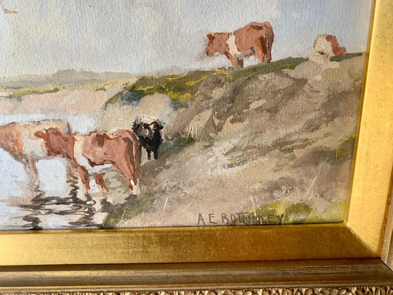 English Impressionist early 20th century, cows drinking water in a landscape - Brown Animal Painting by Albert Ernest Bottomley