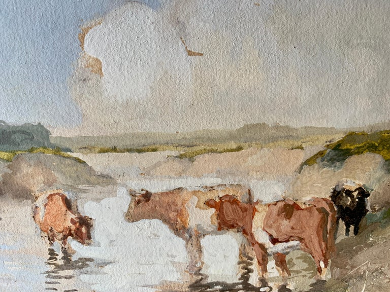 English Impressionist early 20th century, cows drinking water in a landscape For Sale 1