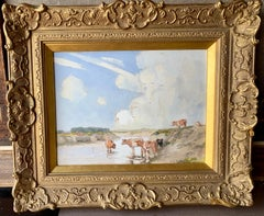 English Impressionist early 20th century, cows drinking water in a landscape