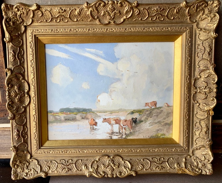 Albert Ernest Bottomley Animal Painting - English Impressionist early 20th century, cows drinking water in a landscape
