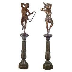Pair of Bronze Neapolitan Dancers on Marble Pedestal