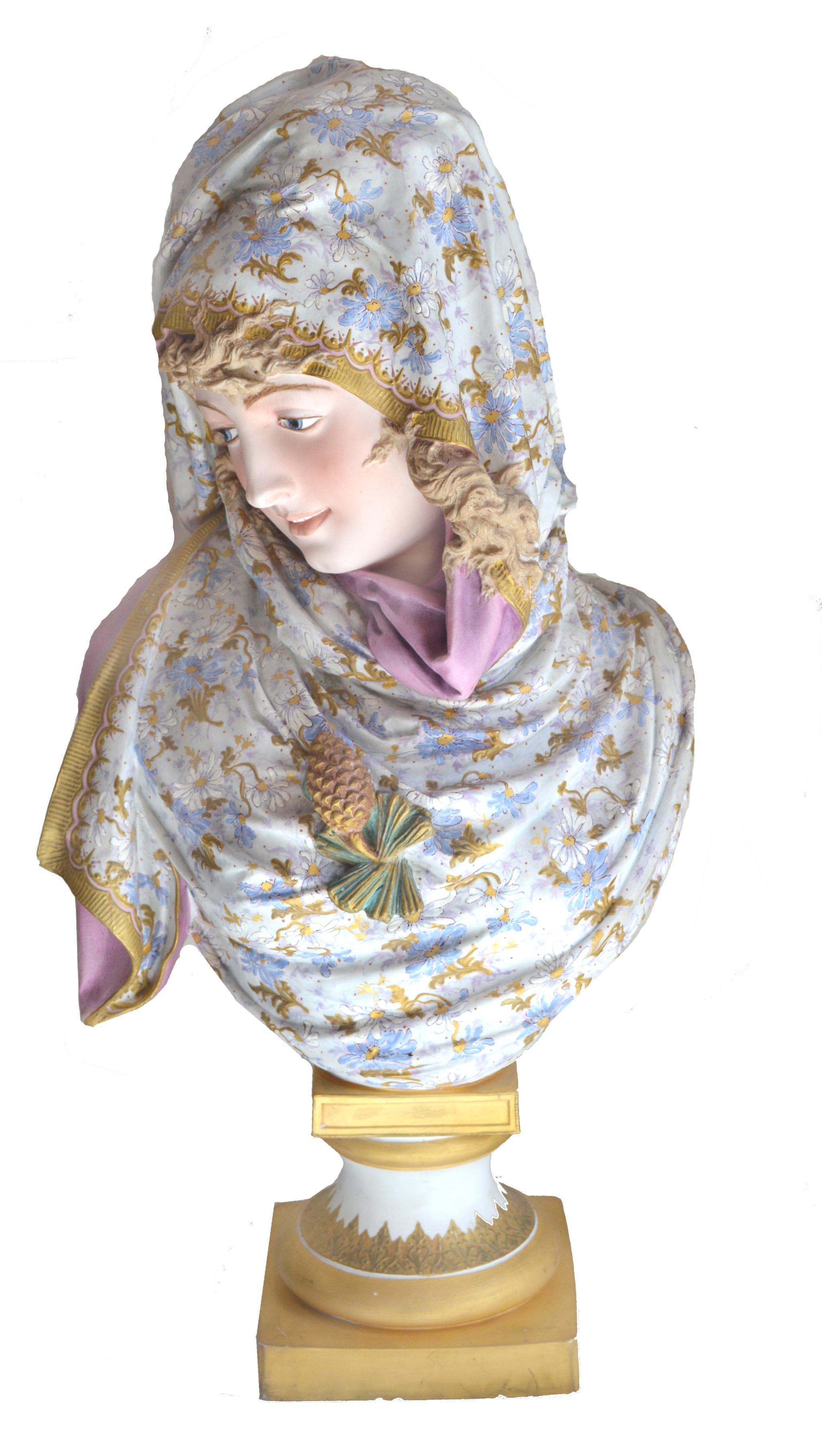 After Albert-Ernest Carrier Belleuse Bisque Plotchrome Persian Maiden