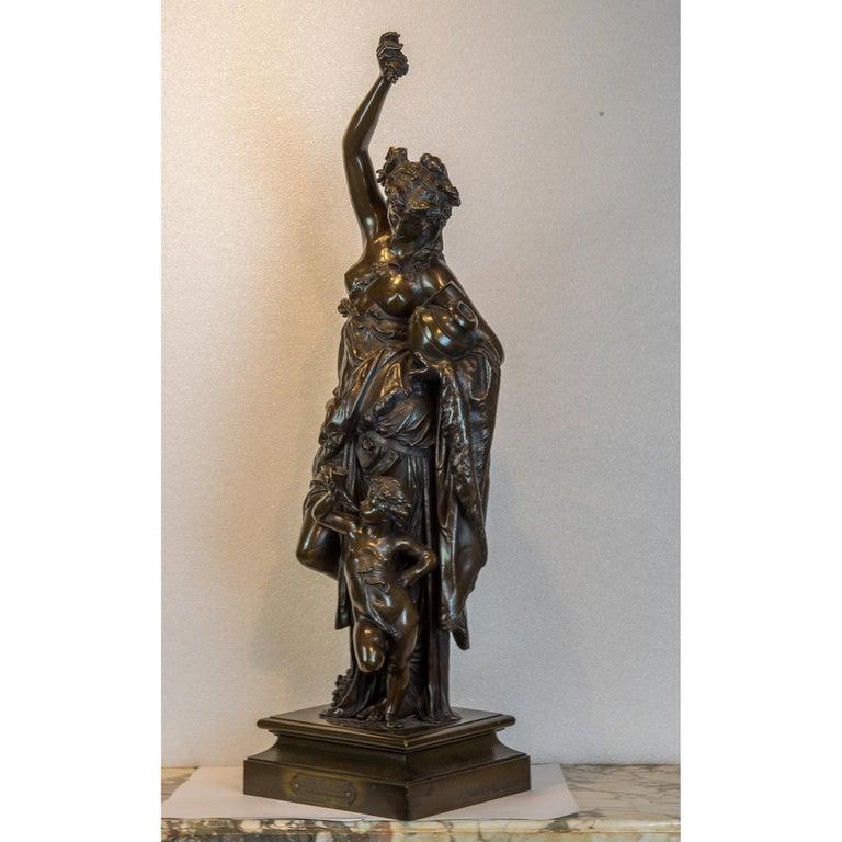Fine Patinated Bronze Sculpture by Albert Carrier-Belleuse - Gold Figurative Sculpture by Albert-Ernest Carrier-Belleuse