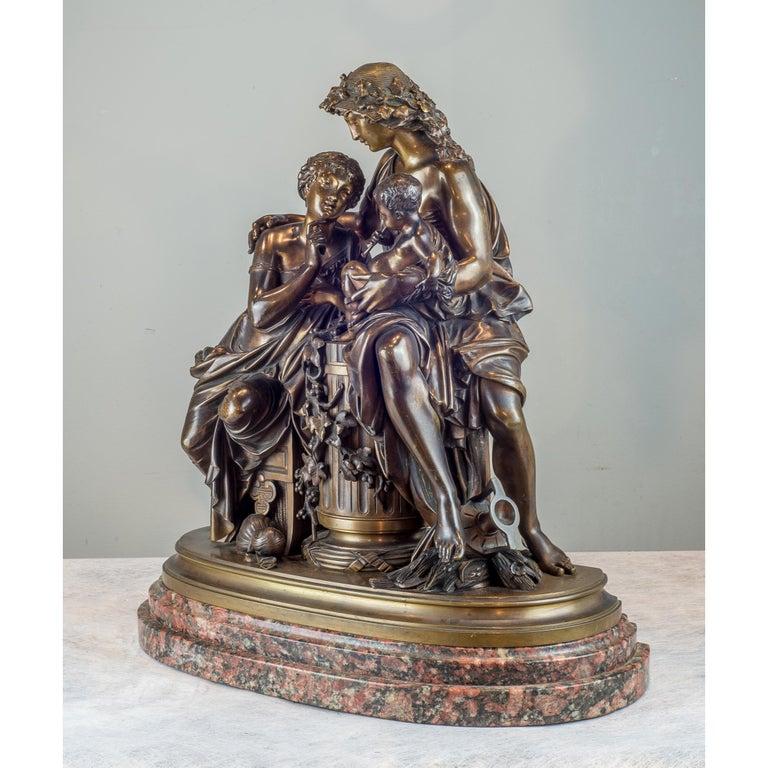 Fine Quality Patinated and Gilt Bronze Group by A. Carrier-Belleuse - Sculpture by Albert-Ernest Carrier-Belleuse