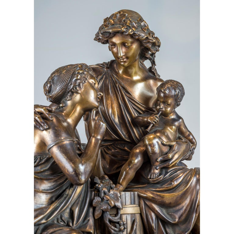 Fine Quality Patinated and Gilt Bronze Group by A. Carrier-Belleuse For Sale 1