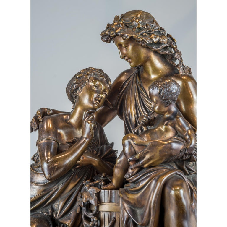 Fine Quality Patinated and Gilt Bronze Group by A. Carrier-Belleuse For Sale 2