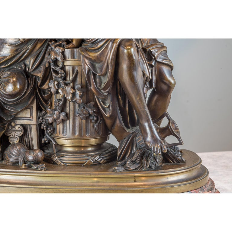 Fine Quality Patinated and Gilt Bronze Group by A. Carrier-Belleuse For Sale 4