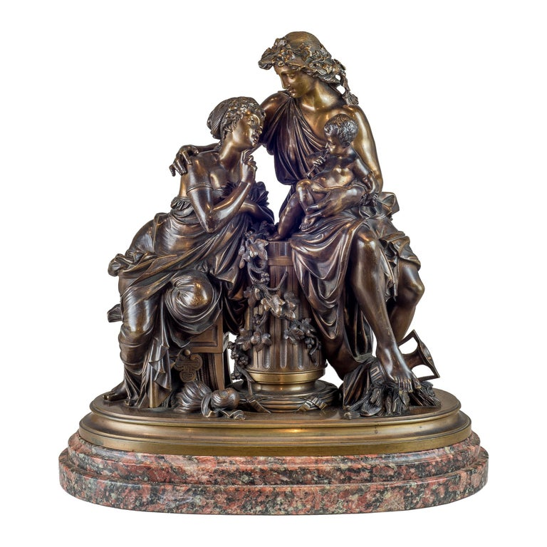 Albert-Ernest Carrier-Belleuse Figurative Sculpture - Fine Quality Patinated and Gilt Bronze Group by A. Carrier-Belleuse