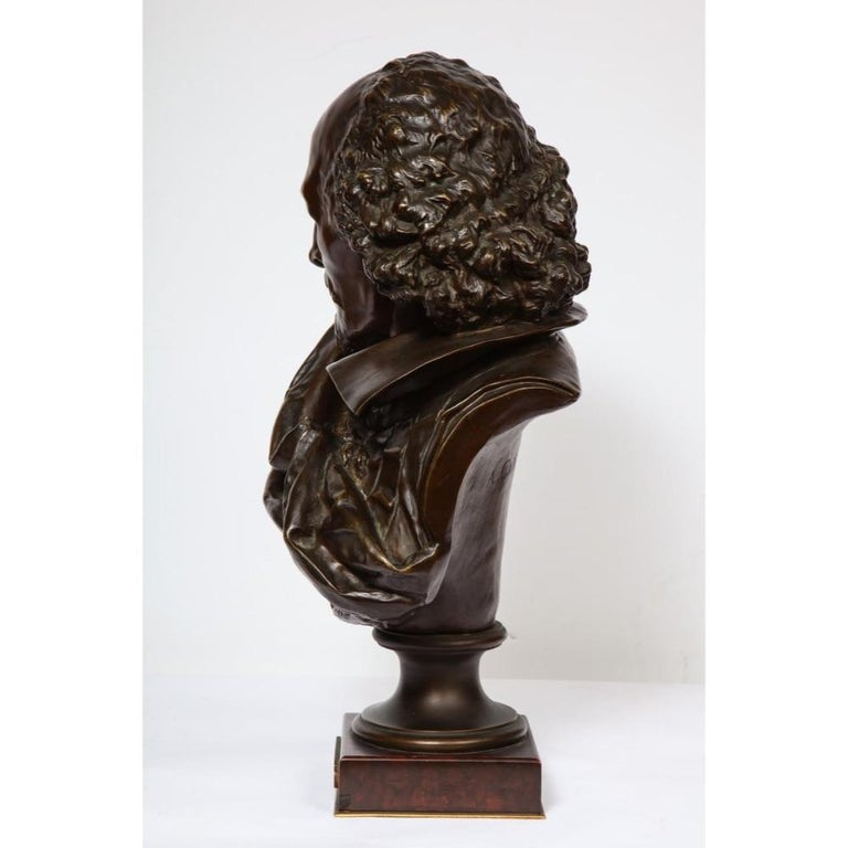 Rare French Bronze Bust of William Shakespeare by Carrier Belleuse and Pinedo For Sale 6