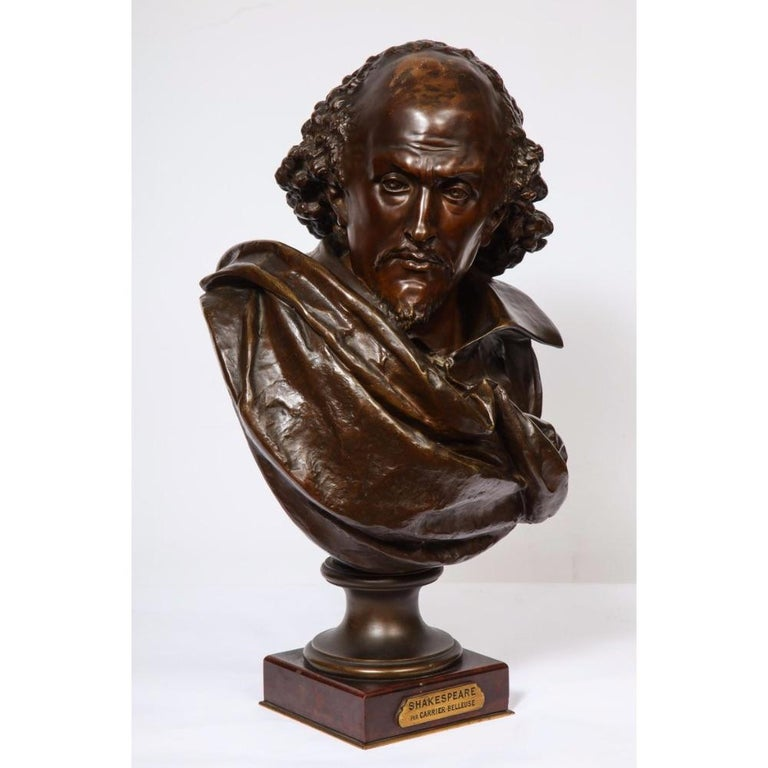 Rare French Bronze Bust of William Shakespeare by Carrier Belleuse and Pinedo - Sculpture by Albert-Ernest Carrier-Belleuse