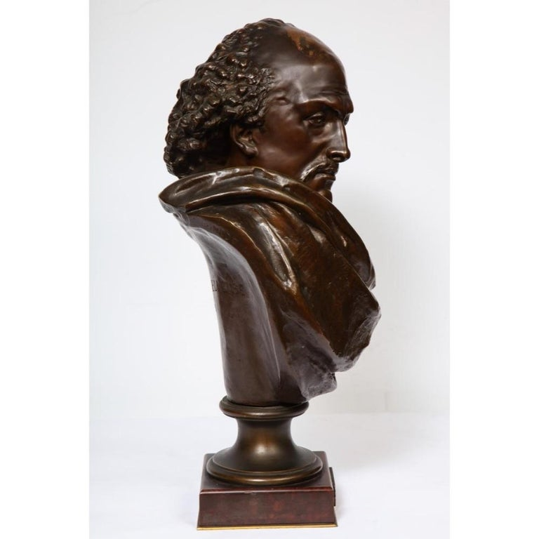 Rare French Bronze Bust of William Shakespeare by Carrier Belleuse and Pinedo For Sale 2