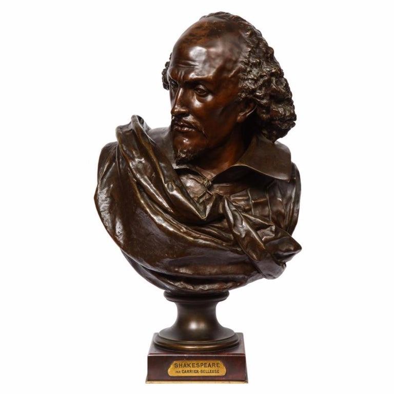 Albert-Ernest Carrier-Belleuse Figurative Sculpture - Rare French Bronze Bust of William Shakespeare by Carrier Belleuse and Pinedo