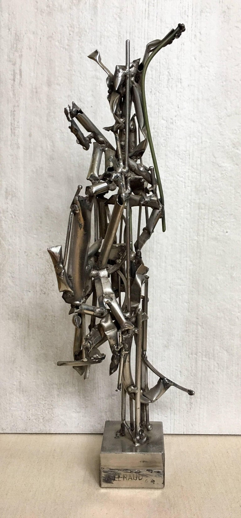 Albert Feraud Brutalist Mid-Century Modern Abstract Metal Sculpture, France