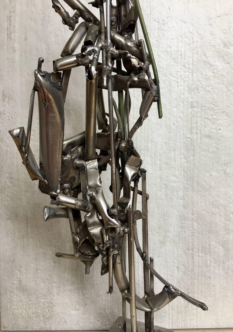 Albert Feraud Brutalist Mid-Century Modern Abstract Metal Sculpture, France  In Excellent Condition For Sale In Lambertville, NJ