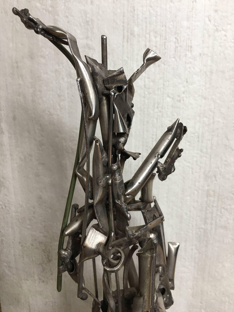 Albert Feraud Brutalist Mid-Century Modern Abstract Metal Sculpture, France  For Sale 1