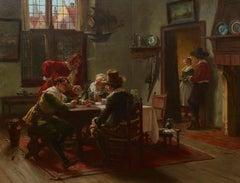 19th Century Interior Scene 'Making the Next Move' by Albert Friedrich Schroder