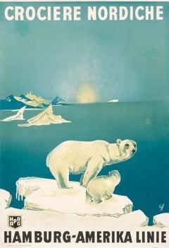 """""""Crociere Nordiche - Hamberg - Amerika Linie"""" Original Vintage Polar Bear Poster"""