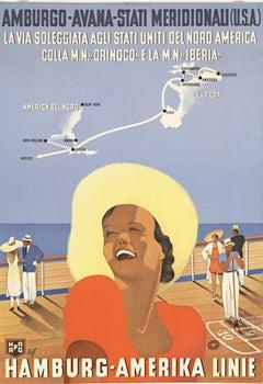 Hamburg - Amerika Linie original vintage travel poster
